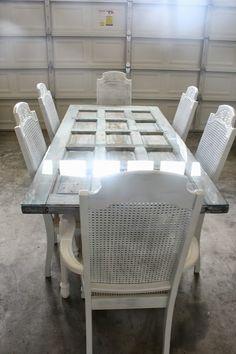 Repurposed door as table.