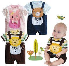 Romper baby bodysuit summer short-sleeve jumpsuit newborn clothing clothes boy girl kids one piece dress bear lion rabbit cute(China (Mainland))
