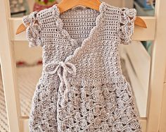 Crochet dress PATTERN Lavender Wrap Dress (sizes up to 8 years) (English only) Baby Dress Patterns Crochet Dress English Lavender Pattern sizes wrap years Crochet Toddler, Baby Girl Crochet, Crochet Baby Clothes, Crochet For Kids, Crochet Summer, Crochet Ideas, Crochet Projects, Baby Patterns, Dress Patterns
