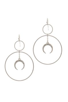 Double Circle Crescent Moon Charm Dangle Drop Earring – Richrichardsonretail Beaded Cuff Bracelet, Tassel Drop Earrings, Women's Earrings, Circle Pendant Necklace, Star Pendant, Trendy Necklaces, Moon Charm, Keep Jewelry, Affordable Jewelry
