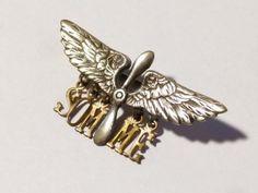 WW1-Silver-RFC-RAF-Wings-amp-Prop-SOMME-Sweetheart-Brooch-Badge-Propellors-RAF96C