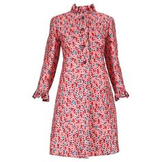 1960's Bill Blass for Maurice Rentner Silk Printed Coat Dress w/Crystal Buttons | From a collection of rare vintage coats and outerwear at https://www.1stdibs.com/fashion/clothing/coats-outerwear/