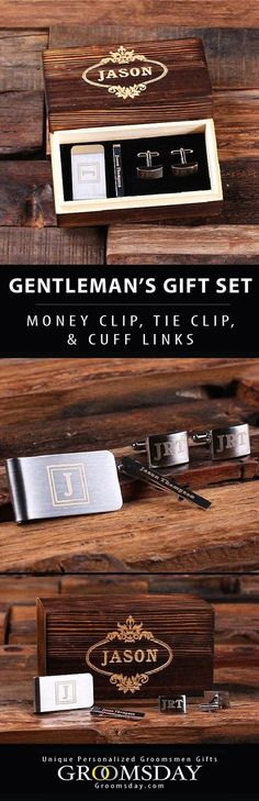 This handsome groomsmen gift set comes fully equipped with a personalized money clip, tie-clip and cufflinks in a classic wooden box, hand-engraved with your groomsman\'s name. These make great groomsmen gifts for those awesome dudes in your life. Don\'t settle for low quality. This groomsmen gift set is bursting with class, sophistication and style. Show some bromance and pick up some today for your groomsmen. Share & repin! Only from Groomsday || Groomsday.com #moneyclip #cufflinks #tieclip