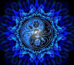 DIY Diamond Painting Black and Blue Yin Yang Flower Mandala - craft kit Arte Yin Yang, Ying Y Yang, Yin Yang Art, Diamond Drawing, 5d Diamond Painting, Diamond Art, Crystal Diamond, Flower Mandala, Mandala Art