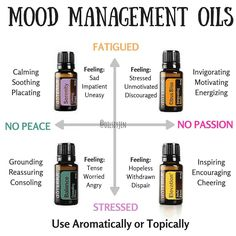 doTERRA has created essential oils blends carefully and specifically to help manage different emotional and physical components of mood. Each of these can be used individually or combined depending on where you are feeling in relation to this chart. My favorite way to use these is mixing them into doTERRA's Hand and Body lotion which is fragrant free and super hydrating. I also love to diffuse these!