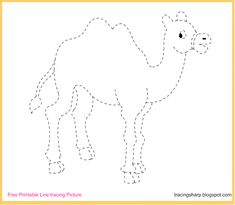 Free Tracing Line Printable: Camel Tracing Picture Art Drawings For Kids, Drawing For Kids, Lined Paper For Kids, Camel Craft, Tracing Pictures, Planet Crafts, Sunday School Projects, Farm Animal Coloring Pages, Toddler Art Projects