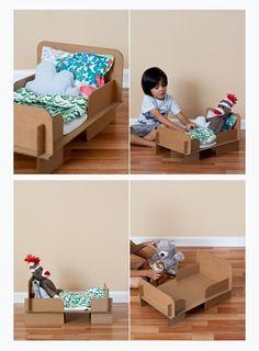 TUTORIALES DE JUGUETES DE CARTON DIY ORIGINALES PARA DEJAR VOLAR LA IMAGINACIÓN. http://manualidadesreciclables.com/9198/como-hacer-una-cama-para-muneca-con-carton-reciclado