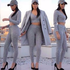 Grey crop top hoodie with high waisted leggings pants set ...