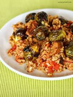Quinoa with Sausage and Roasted Brussels Sprouts #healthy #dinner