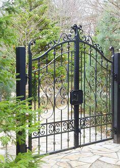 Wrought Iron Gate Designs, Wrought Iron Garden Gates, Metal Gates, House Fence Design, Window Grill Design, Door Gate Design, Front Gates, Entrance Gates, Steel Gate Design
