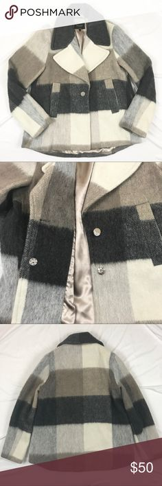 """Laundry by Shelli Segal Wool Plaid Peacoat Laundry by Shelli Segal Wool Plaid Peacoat. Size Small. Bust measures 20"""". Length measures 30"""". Excellent preowned condition. Like new. No trades, offers welcome. Nordstrom Jackets & Coats Pea Coats"""