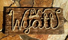 Country/Western Name Signs by ROPE & STYLE combines meticulous craftsmanship with detailed artistry and your custom personalization to give you a Western Names, Cowboy Theme, Cowboy Room, Cowboy Baby, Baby Boy Rooms, Boy Names, Brown Wood, Name Signs, Baby Shower Themes