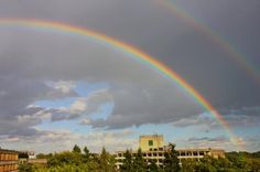 Double rainbow over UEA campus, Norwich, Norfolk, UK.