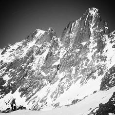 """Day 2 of #blackandwhitephotochallenge """"We have to ski what?"""" That's what Brittany said when she gazed eyes on Crestone Needle for the first time, on her way to ski Crestone Peak in 2007. The Needle would become her 46th 14er skied in 2010. #iski14ers #14erskiers   Visit 14erskiers.com for more 14er skiing adventures!"""