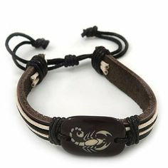 """Unisex Dark Brown Leather 'Scorpio' Friendship Bracelet - Adjustable Avalaya. $6.30. Occasion: casual wear, club night out. Length: 17.0cm (6.69""""). Material: leather. Wear On: wrist. Theme: scorpion. Save 55%!"""