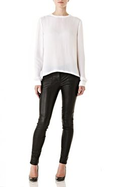 Blouse and Leather Pants