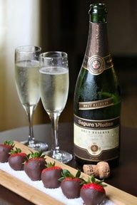 Champagne and chocolate-covered strawberries