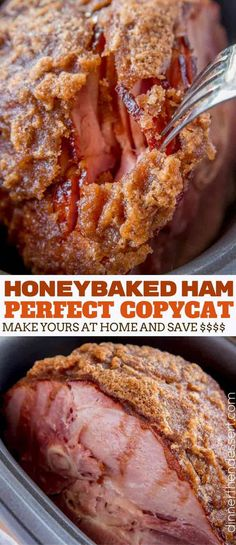 HoneyBaked Ham (Copycat) made with honey sugar and delicious spices is crispy - Ham - Ideas of Ham - HoneyBaked Ham (Copycat) made with honey sugar and delicious spices is crispy sweet smoky and delicious like your favorite ham without the price tag! Thanksgiving Recipes, Holiday Recipes, Thanksgiving Turkey, Dinner Recipes, Christmas Desserts, Christmas Ham, Turkey Breast Recipe Oven, Baking With Honey, Pork Dishes