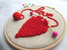 Embroidery hoop art knitted heart hoop Valentine's by RALOOLAND