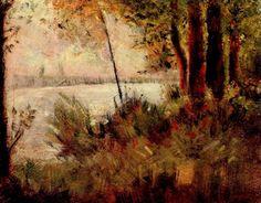 Georges Seurat.  Bewachsener Hang. 1881, Öl auf Leinwand, 32 × 40 cm. New York, Privatsammlung. Pointillismus, Landschaftsmalerei. Frankreich. Neo-Impressionismus.  KO 02066