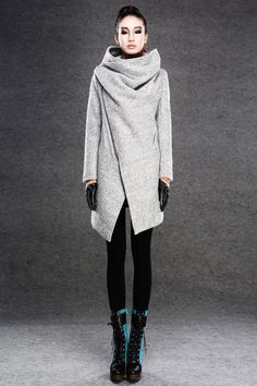 Modern Wool Gray Coat with Asymmetrical Front Zipper por YL1dress