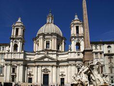 Rom, Piazza Navona, Sant'Agnese in Agone und Fontana dei Quattro Fiumi (Fountain of the four rivers)