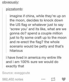 This is completely accurate! The U.S. would spend money just to re-erect the flag lol