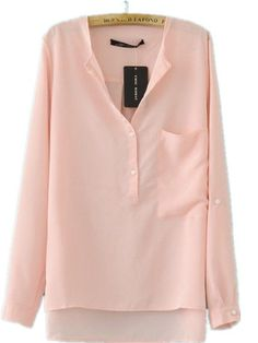 Pink Silk Collarless Dipped Hem Long Sleeve Blouse with Front Pocket