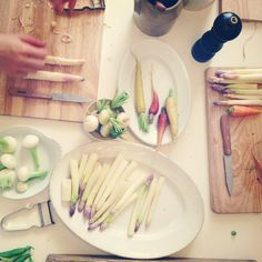Veggie prep during cooking class at The Cook's Atelier.