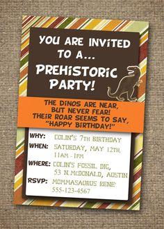 Dinosaur invitation with earth-toned stripes