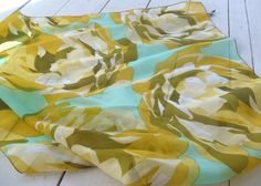 Vintage Mademoiselle Sheer Nylon Scarf Floral Pattern by lookonmytreasures on Etsy