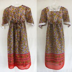 Vintage Irving Mack long sleeve girl maxi dress by DustyDesert, $24.00