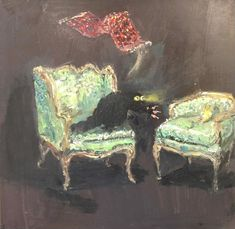 Vanessa Stockard – Don't Look Black Cat Painting, Black Cat Art, Claude Monet, Cassandra Calin, Vincent Van Gogh, Memes Arte, Crazy Cats, Weird Cats, Tiny Cats