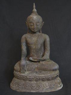 Antique bronze Buddha [Material: Bronze] [57,5 cm high] [19th century] [Ava style] [Bhumisparsha Mudra] [Originating from Burma] [Price: 1250 euro]