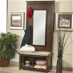 Amazon.com: Walnut Finish Tree Stand With Padded Cushion Storage And Mirror: Furniture & Decor