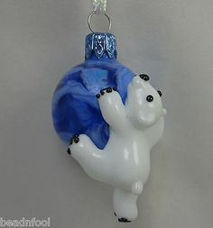 DITS Lampwork Polar Bear Christmas Focal Sculptural Glass Bead Ornament Pendant