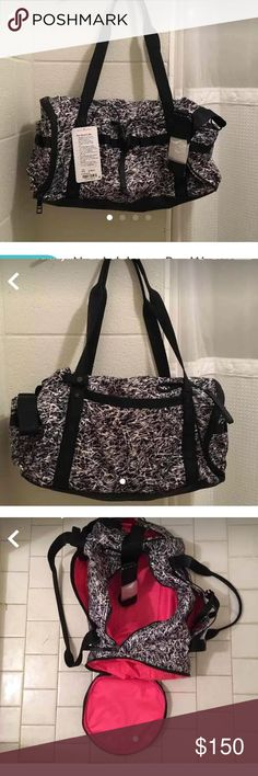 Lululemon Run Ways Duffel Bag These are NEW Blk, Whit, Grey on the exterior and the interior is sexy Neon Lipstick Red-Fushia Pink. All the detailing like straps, zippers, pull straps, and edgings are black. There is an attached shoulder strap to one end, and it folds into its own pocket when not in use. This bag has 4 large outside pockets, 3 of the pockets have pockets within the pockets for iPhone, h2o, snacks, sunglasses, what have you got. There's built in shoe compartment & separate…