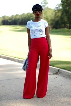 Yougastyle Red Wide Leg Pants