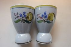 """Mid Century Egg Cups made by Arabia """"Windflower"""" Pattern Set of 2 Hand Painted…"""