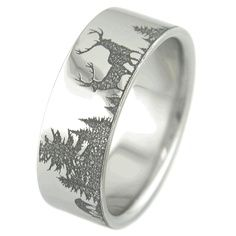 Mens LaserCarved Titanium Monster Buck Hunting Wedding Band Ring
