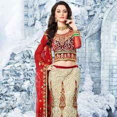 Off White Net Lehenga Choli with Dupatta Online Shopping: LDW489