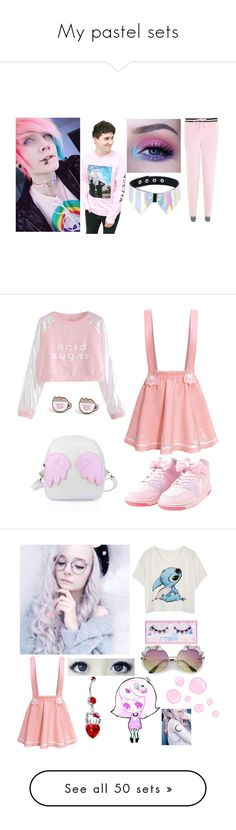 """My pastel sets"" by emogirlforlife ❤ liked on Polyvore featuring Topshop, Pusheen, shu uemura, GUSTA, Hello Kitty, Jellycat, Smoko, Boohoo, LovelyLoungewear and Cosmic Unicornz"