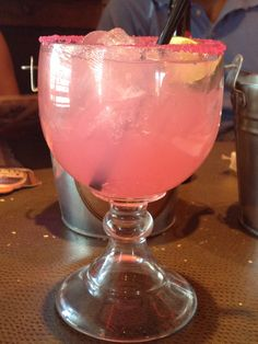 Prickly Pear Margarita from Logan's Steak House..... Recipe: el jimador blanco 100% agava and prickly pear purée, combined with our margarita mix  DeKuyper Triple Sec