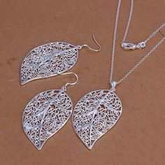 S180 Hot Selling silver plated jewelry set, 925 stamped fashion jewelry set Leaf Earrings Necklace S180 /alqajcxa axiajopa