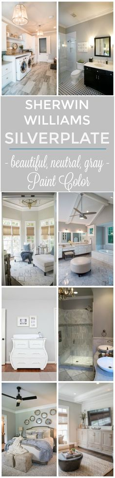 Picking a paint color can be confusing and challenging! If you love gray, you'll love this beautiful neutral grey color - Sherwin Williams Silverplate. See it in real homes and rooms! It's not too dark and a stunning backdrop for any accent color.