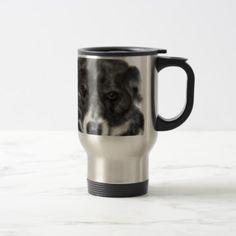 Black and white dog travel mug - christmas mugs santa merry xmas