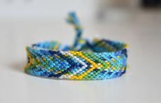 Friendship Bracelet, fishbone pattern, chevron arrows, blue green yellow (ready to ship)