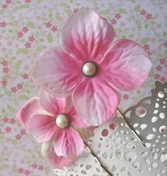 Pink Promise Blossoms Hairpins  Set of 2 by bazaarLatino on Etsy (Accessories, Hair, Bobby Pin, hairpins, silver plated, vintage, silk flowers, pink, pearl, hair, accessories, blossom)