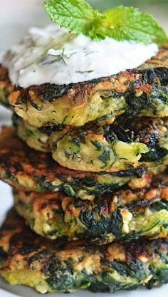 Zucchini, Feta, and Spinach Fritters with Garlic Tzatziki . low-carb healthy