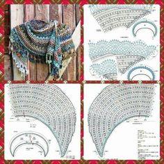 Crochet Shawl Diagram, Crochet Wrap Pattern, Crochet Cape, Crotchet Patterns, Crochet Motifs, Crochet Scarves, Irish Crochet, Crochet Clothes, Knitting Patterns